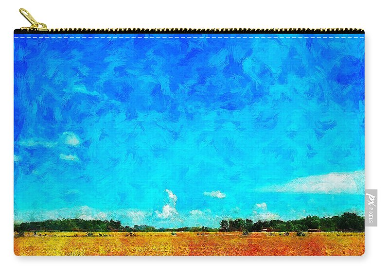 Field Carry-all Pouch featuring the painting Lazy Clouds in the Summer Sun by Sandy MacGowan