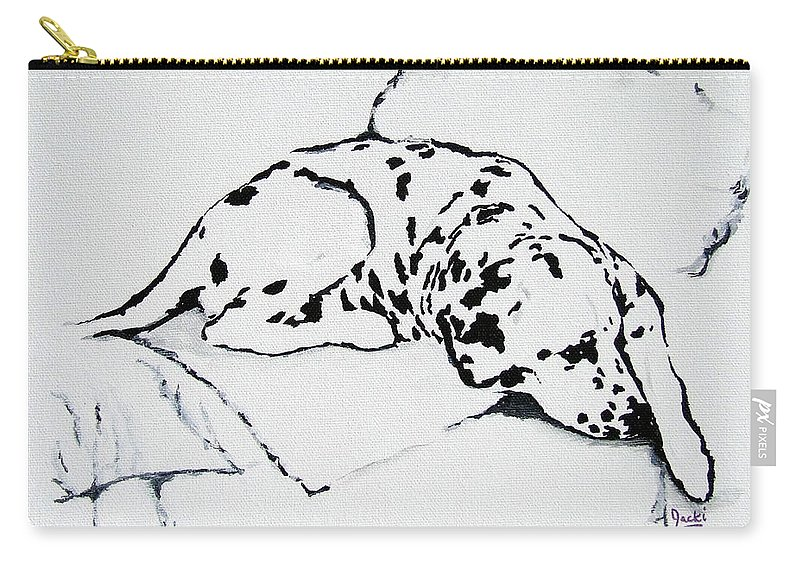 Dogs Carry-all Pouch featuring the painting Lazy Day by Jacki McGovern