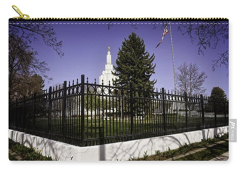Idaho Falls Carry-all Pouch featuring the photograph Lds Idaho Falls Temple by Image Takers Photography LLC - Carol Haddon