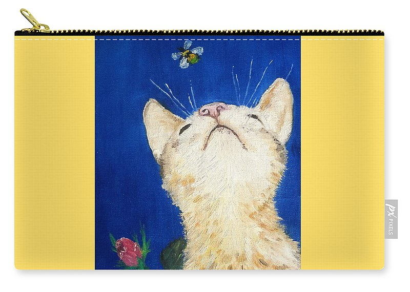 Cats Carry-all Pouch featuring the painting Lea And The Bee by Reina Resto
