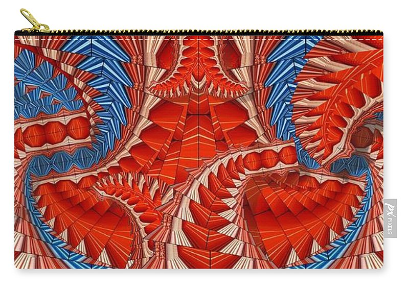 Abstract Carry-all Pouch featuring the digital art Leaf Pattern In Red by Ron Bissett