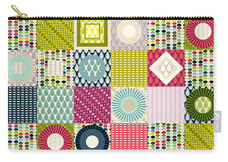 Leaf Carry-all Pouch featuring the drawing Leaf Squares by MGL Meiklejohn Graphics Licensing