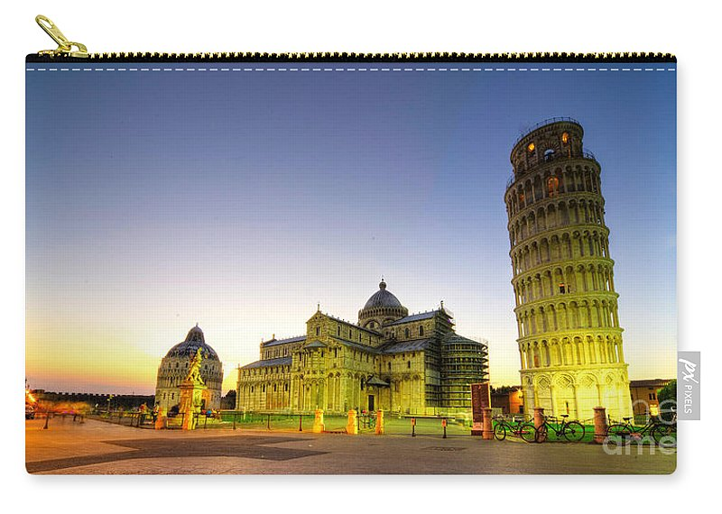 Pisa Carry-all Pouch featuring the photograph Leaning Tower By Dusk by Rob Hawkins