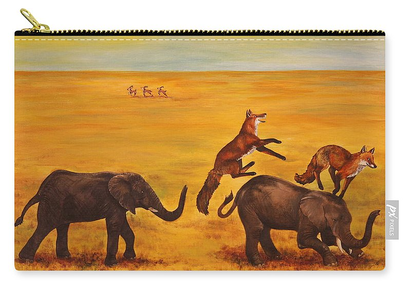 Fox Carry-all Pouch featuring the painting Leap Frog by Michelle Miron-Rebbe