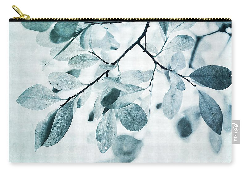 Foliage Carry-all Pouch featuring the photograph Leaves In Dusty Blue by Priska Wettstein