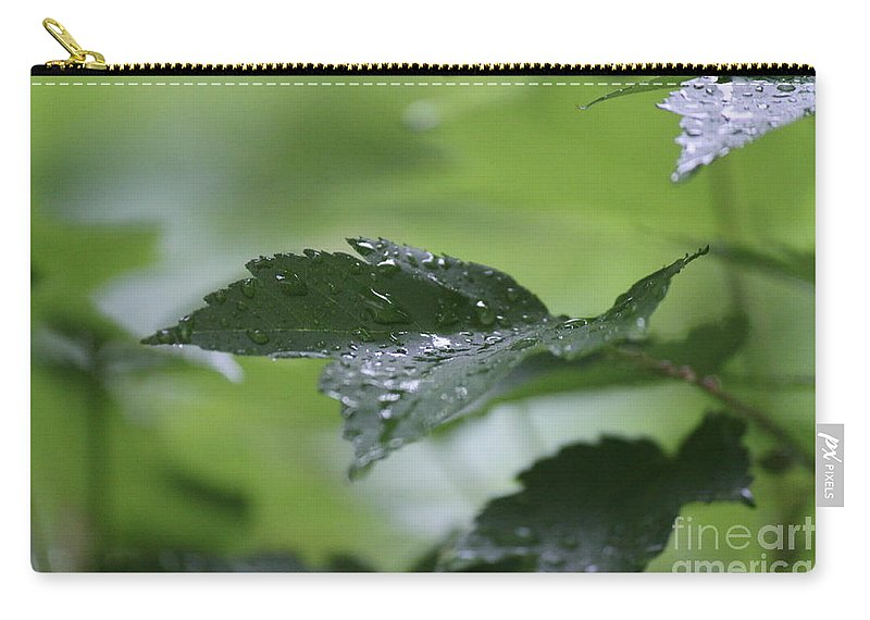 White Carry-all Pouch featuring the photograph Leaves In The Rain by Jennifer E Doll