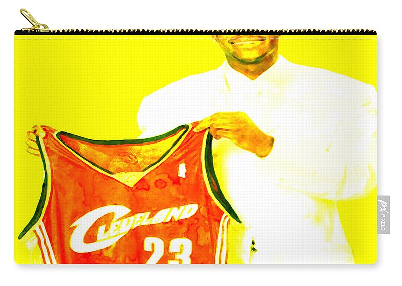 Lebron James Carry-all Pouch featuring the painting Lebron James Going Home by Brian Reaves