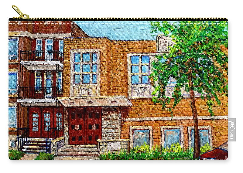 Montreal Carry-all Pouch featuring the painting Legare And Hutchison Synagogue Montreal by Carole Spandau