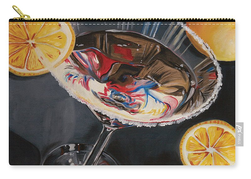 Lemons Carry-all Pouch featuring the painting Lemon Drop by Debbie DeWitt