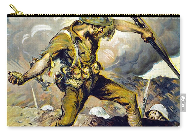 Poster Carry-all Pouch featuring the drawing Lend The Way They Fight, 1918 by Edmund Ashe