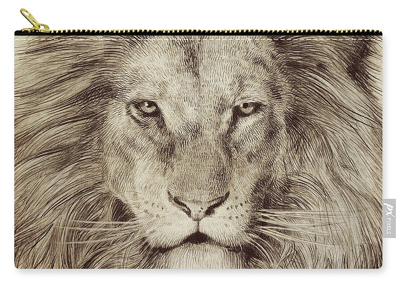 Lion Carry-all Pouch featuring the drawing Leo by Eric Fan