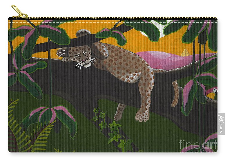 Leopard Carry-all Pouch featuring the painting Leopard Cub by Suzette Broad