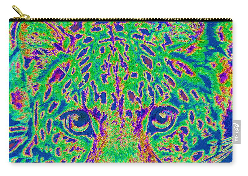 Leopard Carry-all Pouch featuring the digital art Leopard Eyes Green by Jane Schnetlage