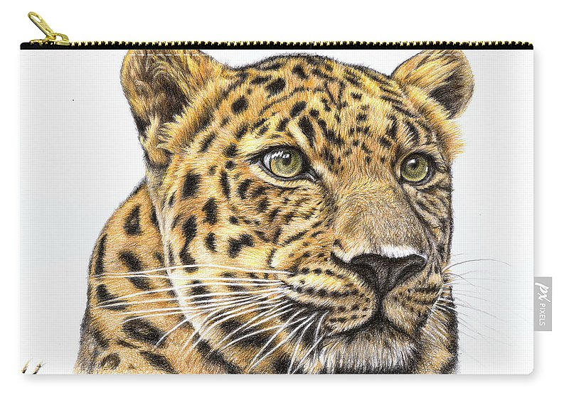 Leopard Carry-all Pouch featuring the drawing Leopard by Nicole Zeug