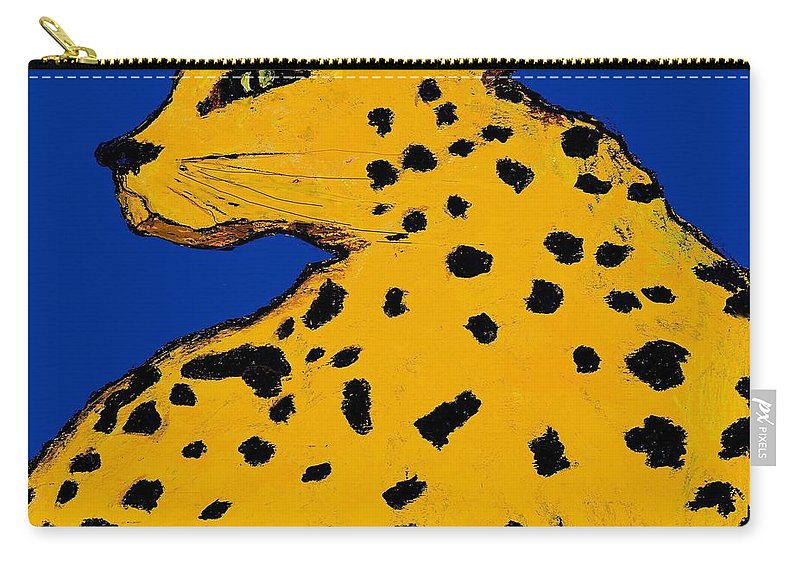 Leopard Carry-all Pouch featuring the painting Leopard On Blue by Dale Moses