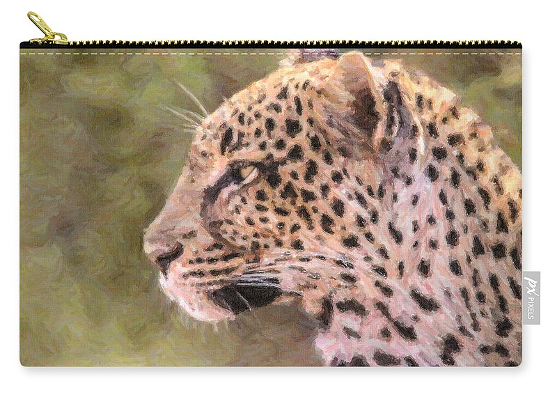 Leopard Carry-all Pouch featuring the digital art Leopard Portrait by Liz Leyden