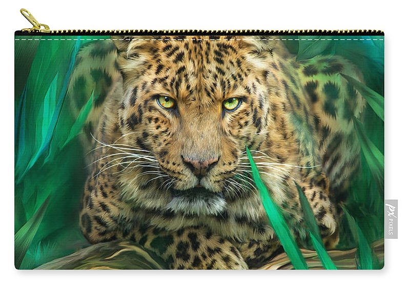 Leopard Carry-all Pouch featuring the mixed media Leopard - Spirit Of Empowerment by Carol Cavalaris