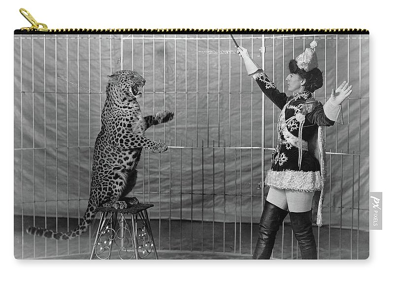 1906 Carry-all Pouch featuring the photograph Leopard Trainer, C1906 by Granger