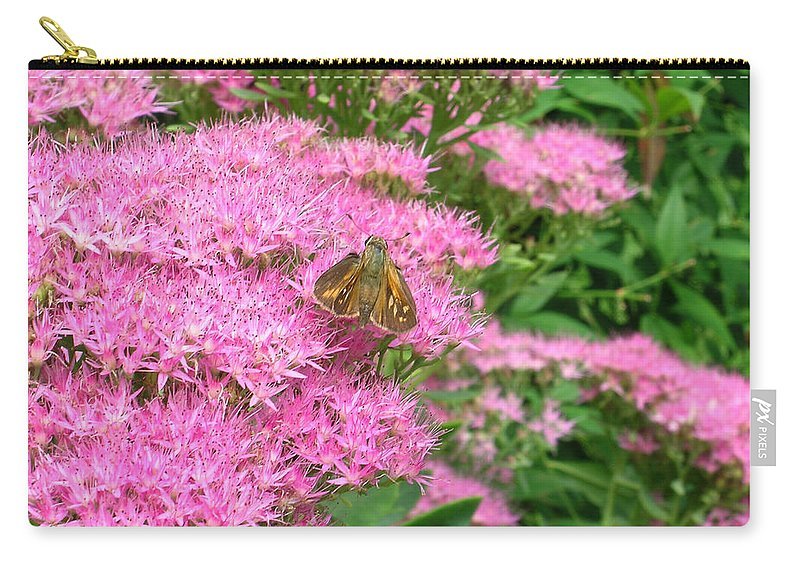 Lepidopterian Carry-all Pouch featuring the photograph Lepidopterian Feeding On Milkweed by Douglas Barnett