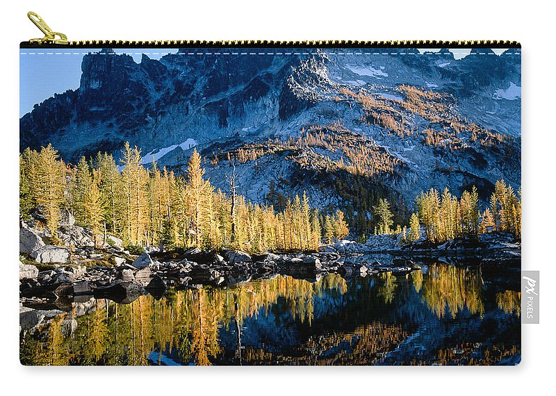 Glacier Carry-all Pouch featuring the photograph Leprechaun Lake Larch Trees by Tracy Knauer