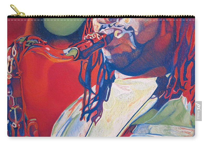 Leroi Moore Carry-all Pouch featuring the drawing Leroi Moore Colorful Full Band Series by Joshua Morton