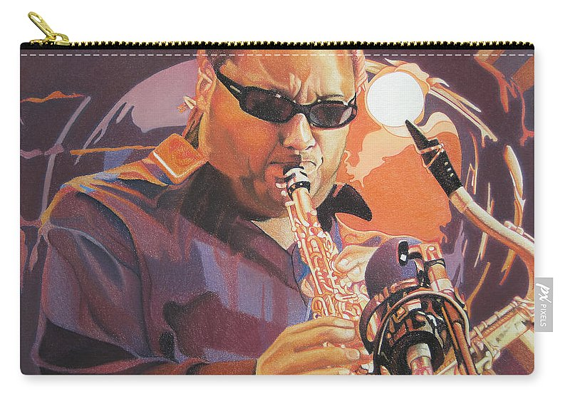 Leroi Moore Carry-all Pouch featuring the drawing Leroi Moore Purple And Orange by Joshua Morton