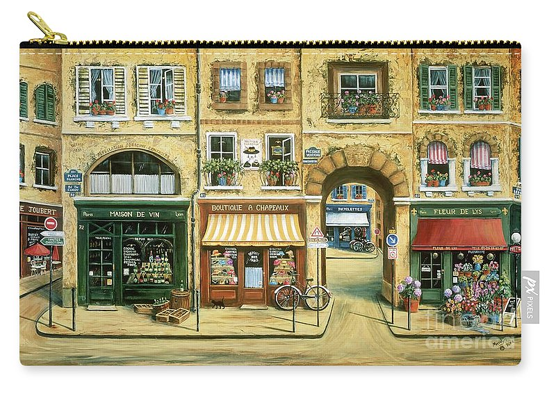 Wine Shop Carry-all Pouch featuring the painting Les Rues De Paris by Marilyn Dunlap