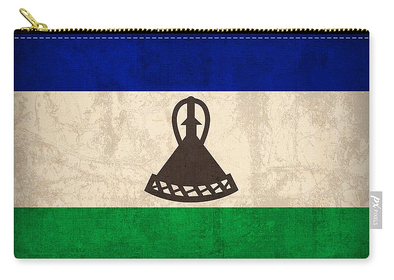 Lesotho Carry-all Pouch featuring the mixed media Lesotho Flag Vintage Distressed Finish by Design Turnpike