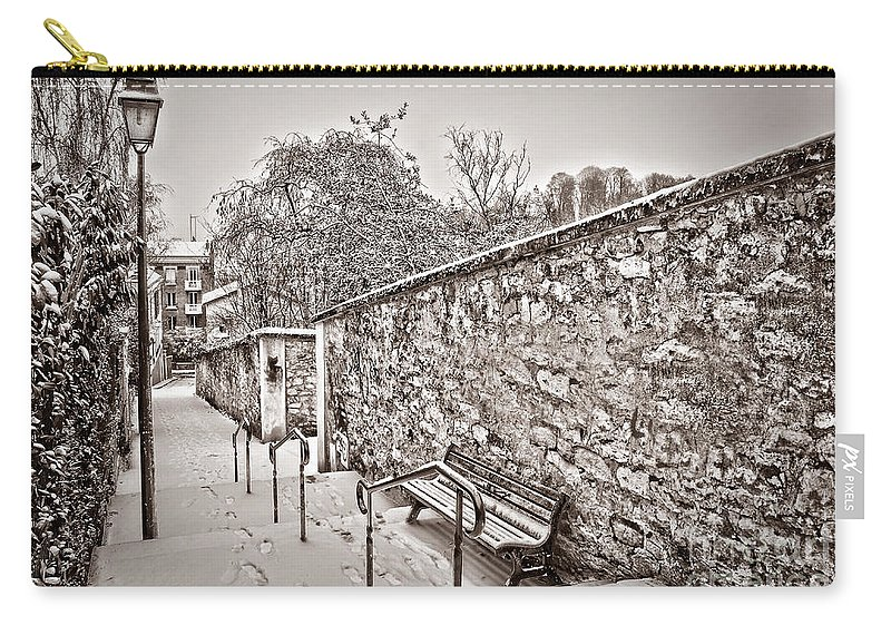 Paris Carry-all Pouch featuring the photograph Let It Snow by Delphimages Photo Creations