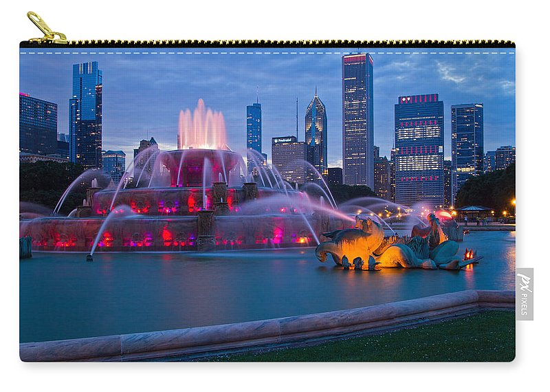 Buckingham Fountain Carry-all Pouch featuring the photograph Let's Go Hawks by Lindley Johnson