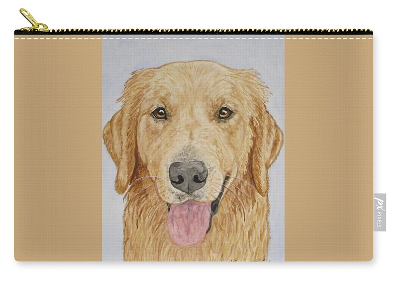 Golden Retriever Carry-all Pouch featuring the painting Let's Play by Megan Cohen