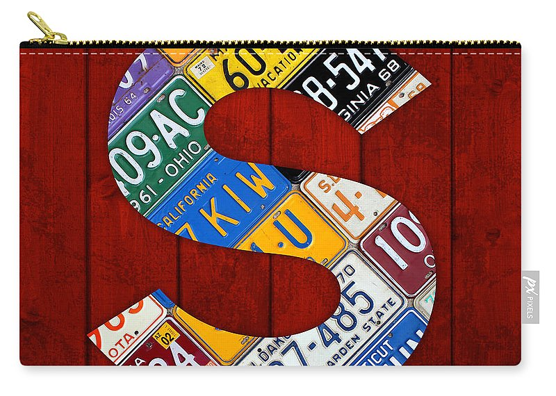 Letter Carry-all Pouch featuring the mixed media Letter S Alphabet Vintage License Plate Art by Design Turnpike