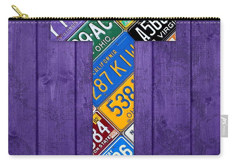 Letter Carry-all Pouch featuring the mixed media Letter T Alphabet Vintage License Plate Art by Design Turnpike