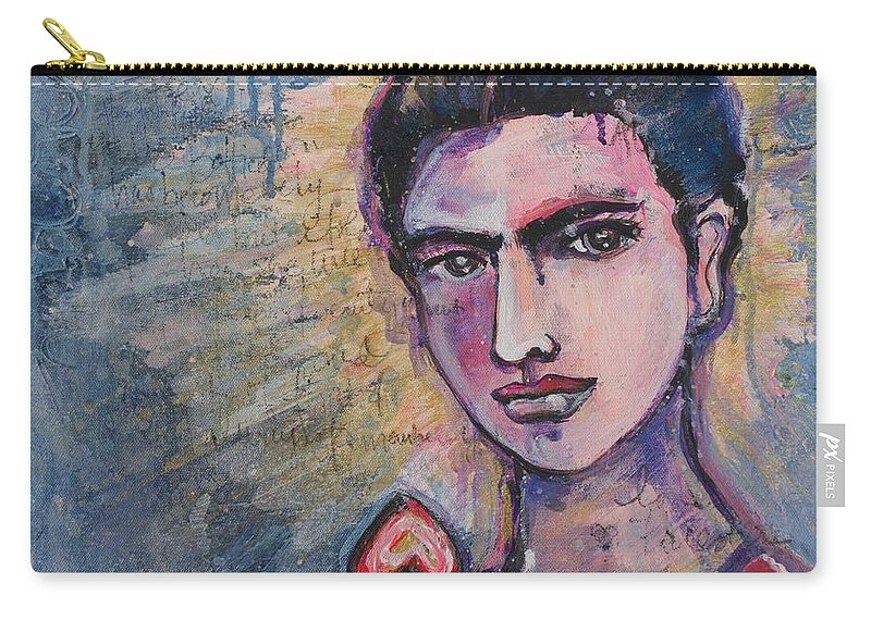 Frida Carry-all Pouch featuring the painting Letters To Alejandro by Laurie Maves ART