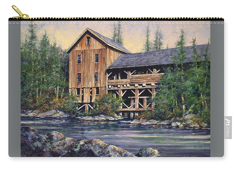 Grist Mills Carry-all Pouch featuring the painting Lewisville Grist Mill Afternoon by Jim Gola