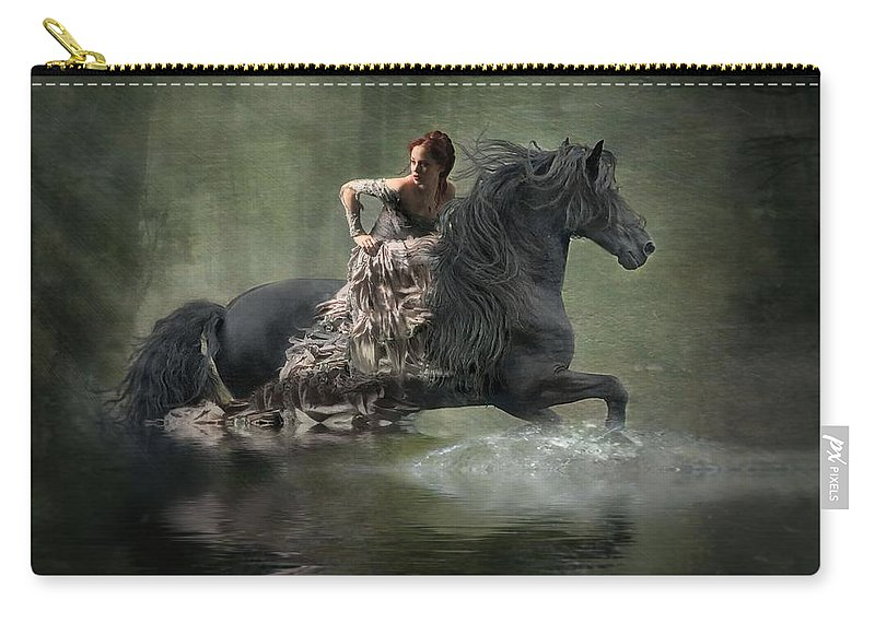 Girl Fleeing On Horse Carry-all Pouch featuring the photograph Liberated by Fran J Scott