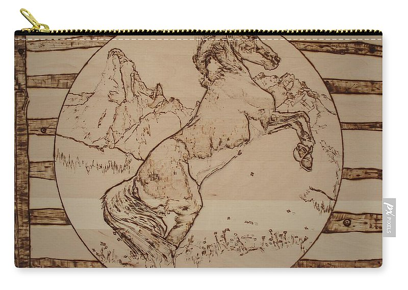 Pyrography Carry-all Pouch featuring the pyrography Wild Horse by Sean Connolly