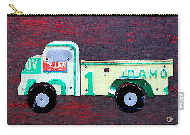 License Plate Art Pickup Truck Kids Room Decor Fun Boy Child License Plate Map Carry-all Pouch featuring the mixed media License Plate Art Pickup Truck by Design Turnpike