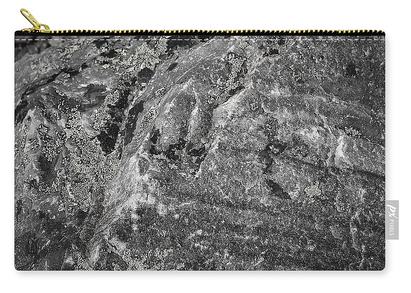Rock Carry-all Pouch featuring the photograph Lichen On The Whistlers - Black And White by Stuart Litoff