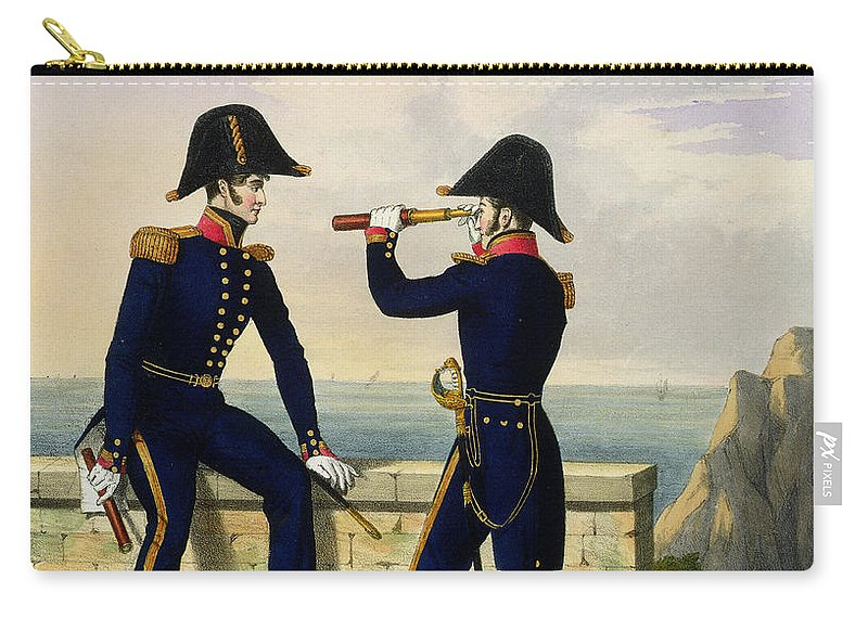 Uniform Carry-all Pouch featuring the drawing Lieutenants, Plate 1 From Costume by L. and Eschauzier, St. Mansion