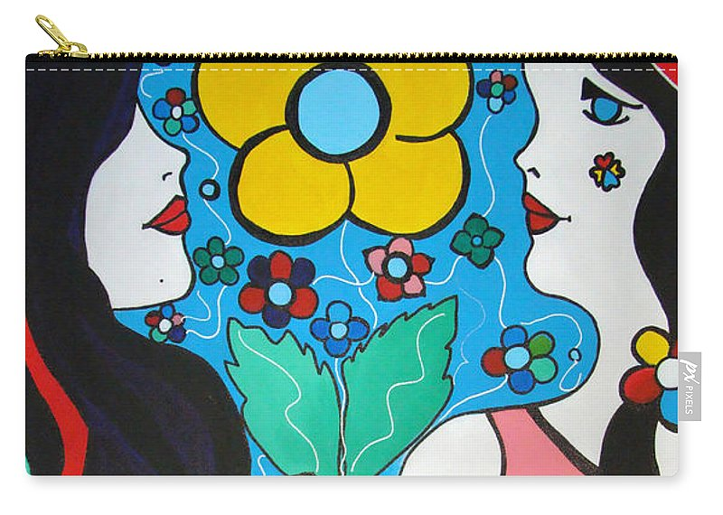 Pop-art Carry-all Pouch featuring the painting Life Is Beautiful by Silvana Abel