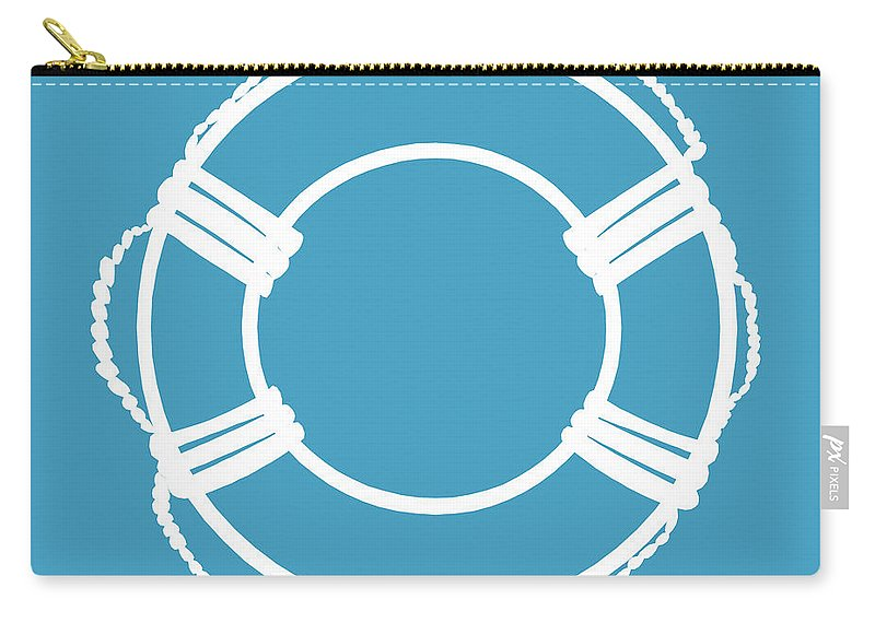 Graphic Art Carry-all Pouch featuring the digital art Life Preserver In White And Turquoise Blue by Jackie Farnsworth