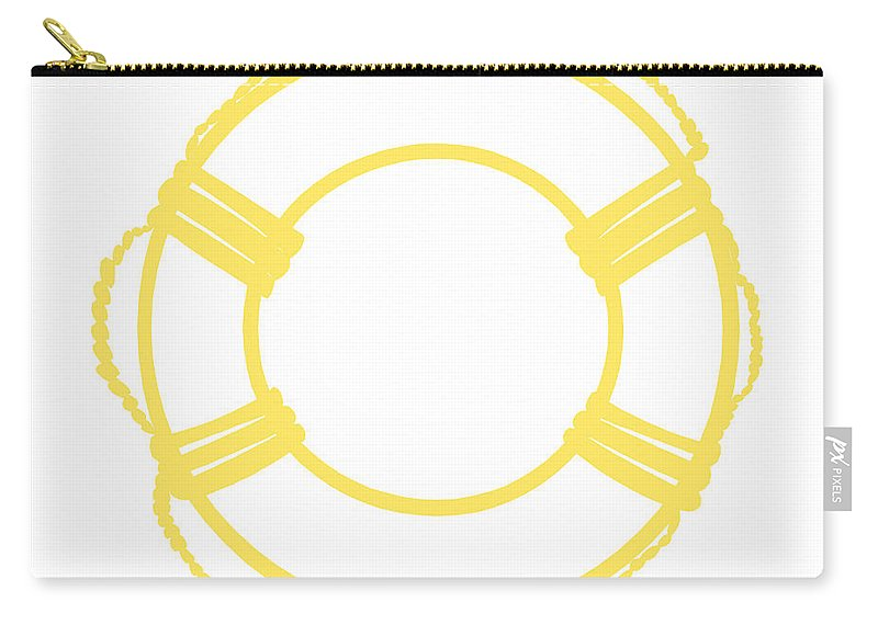 Graphic Art Carry-all Pouch featuring the digital art Life Preserver In Yellow And Whtie by Jackie Farnsworth