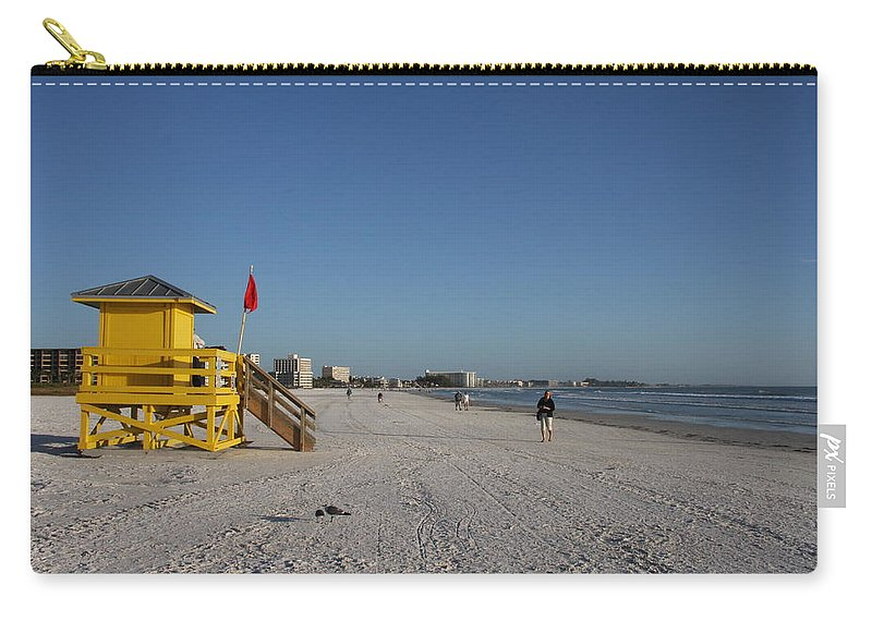 Lifegard Carry-all Pouch featuring the photograph Lifeguard On Siesta Key by Christiane Schulze Art And Photography
