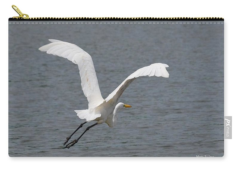 Lift Off - Egret 2013 Carry-all Pouch featuring the photograph Lift Off - Egret 2013 by Maria Urso
