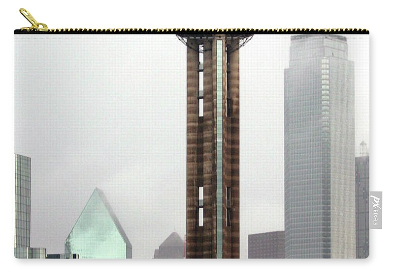 Landmark Carry-all Pouch featuring the photograph Lifting Fog On Dallas Texas by Robert Frederick