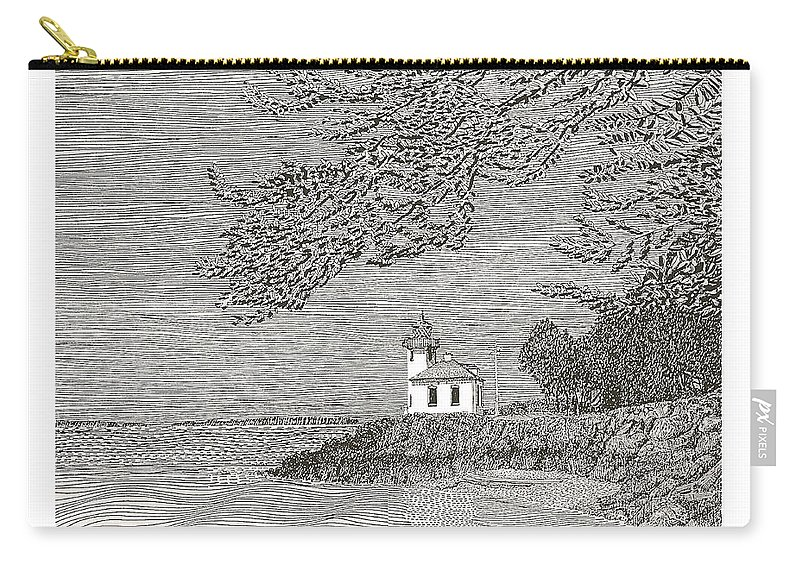 San Juan Islands Lime Point Lighthouse Carry-all Pouch featuring the drawing Light House On San Juan Island Lime Point Lighthouse by Jack Pumphrey