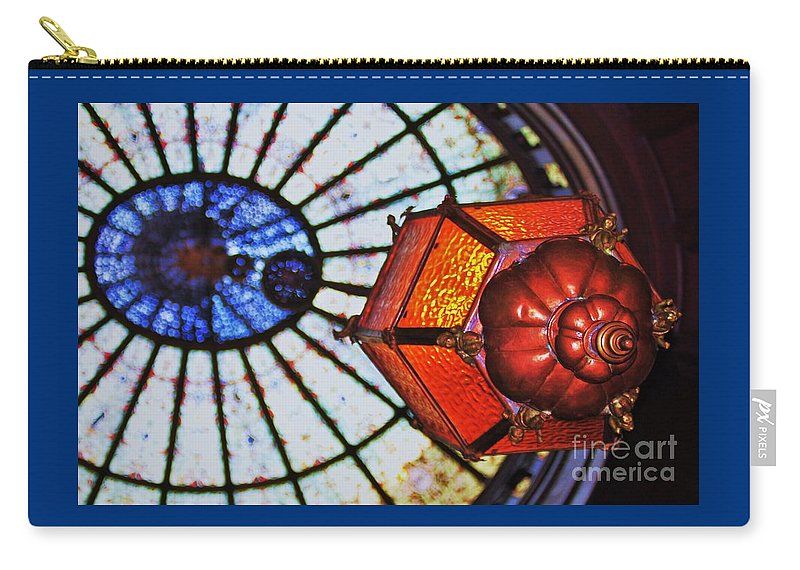 Surreal Art Engineers Club Baltimore Icon Abstract Tiffany Stained Glass Mount Vernon Place Unusual Image Historic Building Old Lantern Orange Glass Copper Rosette Garrett Jacobs Mansion Canvas Print Wood Print Metal Frame Poster Print Available On Mugs T Shirts Shower Curtains Tote Bags Pouches Weekender Tote Bags And Phone Cases Carry-all Pouch featuring the photograph Light In Flight by Marcus Dagan