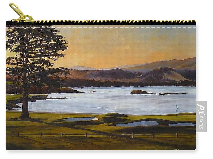 Famous 18th Hole At Pebble Beach At Sunrise Carry-all Pouch featuring the painting Light On The 18th by Shelley Cost