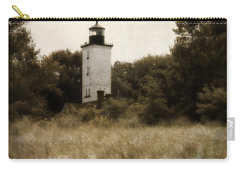 Presque Isle Lighthouse Carry-all Pouch featuring the photograph Light The Way by Gothicrow Images